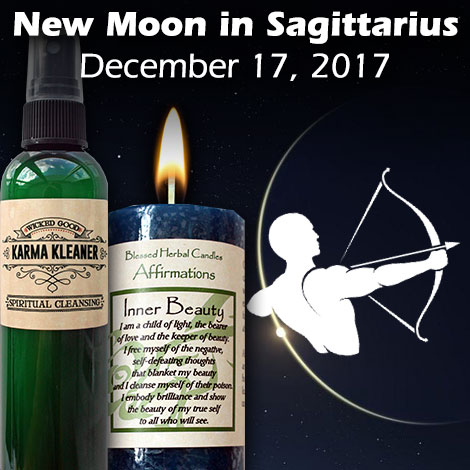 New moon in Sagittarius on December 17, 2017